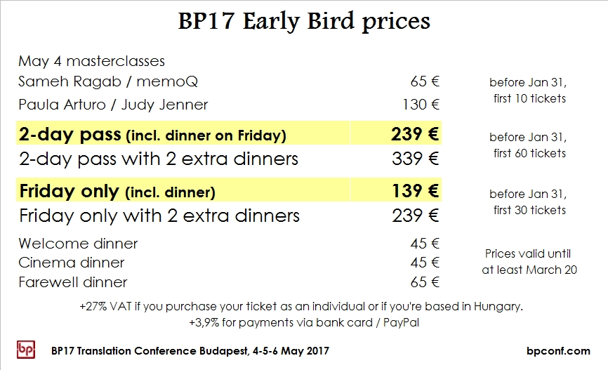 BP17 Translation Conference Budapest - early bird prices