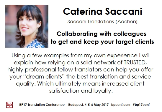 BP17 Translation Conference Caterina Saccani collaborating with colleagues session card