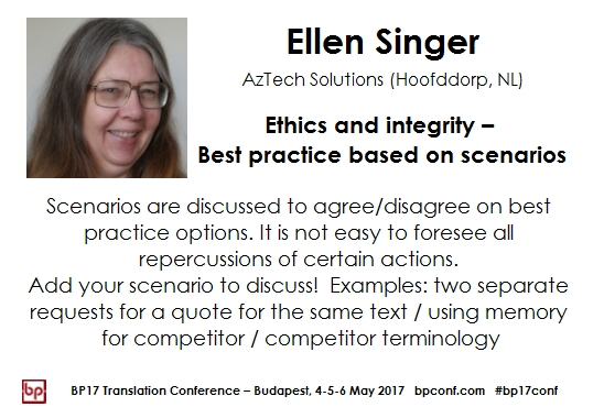 BP17 Translation Conference Budapest Ellen Singer Ethics and Integrity workshop