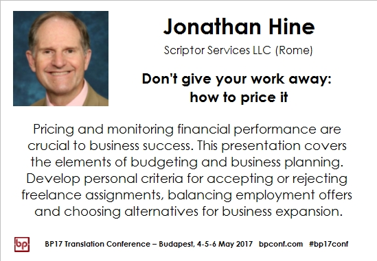 BP17 Translation Conference Jonathan Hine pricing strategies session card