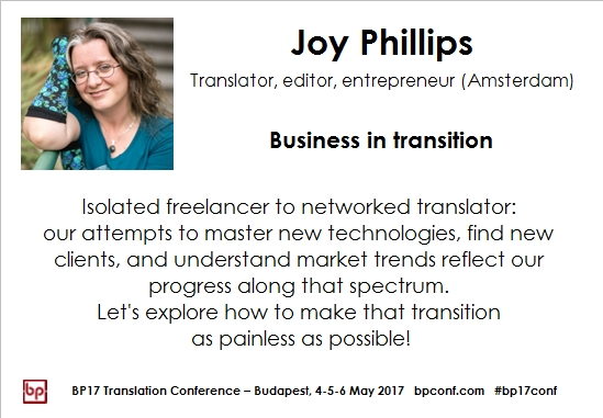 BP17 Translation Conference Joy Phillips session card