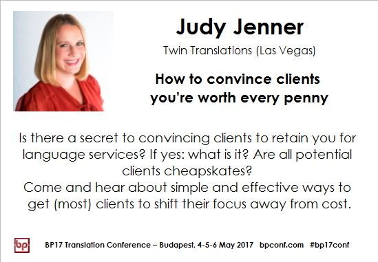 BP17 Translation Conference Judy Jenner How to convince clients session card