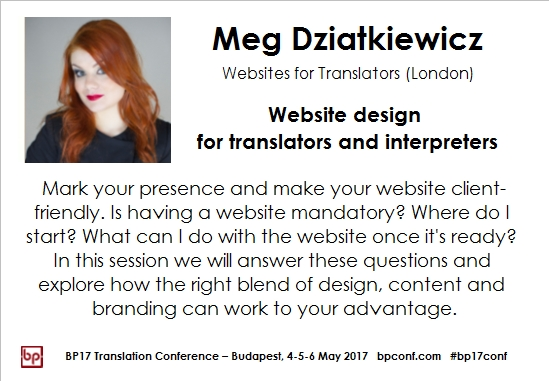 BP17 Translation Conference Meg Dziatkewicz websites session card