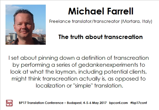 BP17 Translation Conference Michael Farrell Transcreation session card