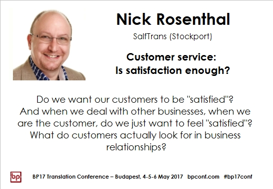 BP17 Translation Conference Nick Rosenthal customer satisfaction session card