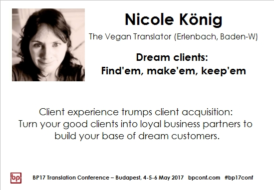 BP17 Translation Conference Nicole König dream clients session card