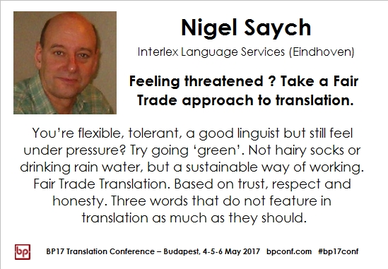 BP17 Translation Conference Nigel Saych Fair trade translation session card