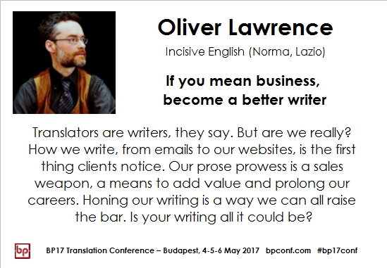 BP17 Translation Conference Oliver Lawrence become a better writer session card