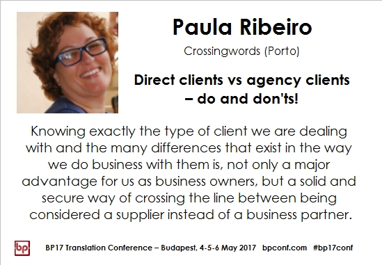 BP17 Translation Conference Paula Ribeiro Clients session card