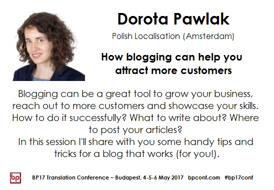 BP17 Translation Conference Dorota Pawlak blogging session card