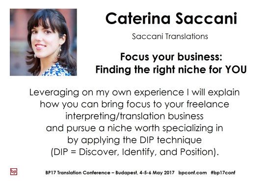 BP17 Translation Conference Budapest Caterina Saccani finding the right niche session card