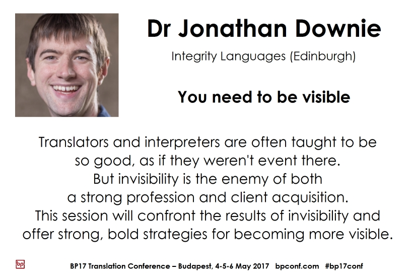 BP17 Transation Conference Jonathan Downie visible interpreter session card