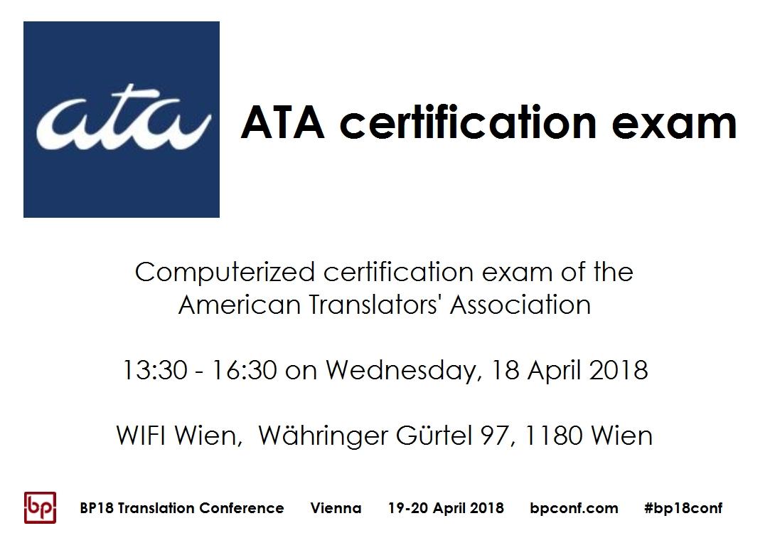 BP18 Translation Conference ATA exam