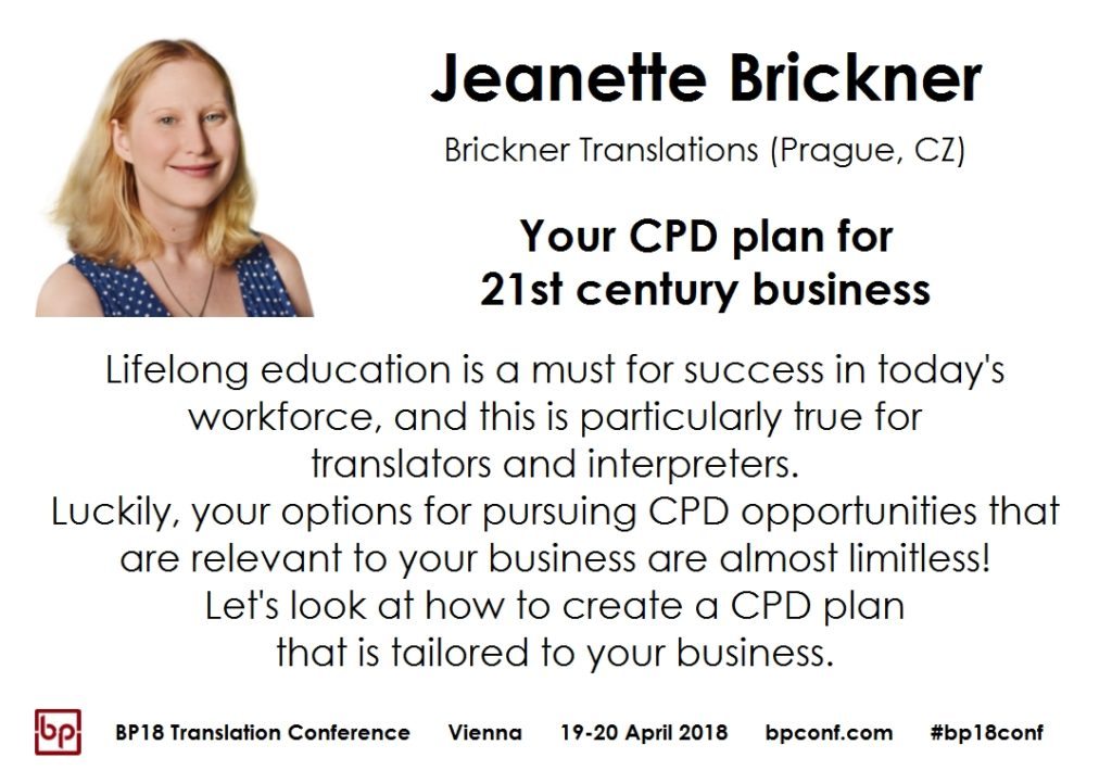 BP18 Translation Conference Jeanette Brickner CPD plan for 21st century business