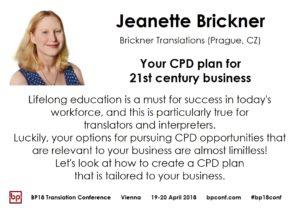 BP18 Translation Conference Jeanette Brickner CPD plan for 21st century business
