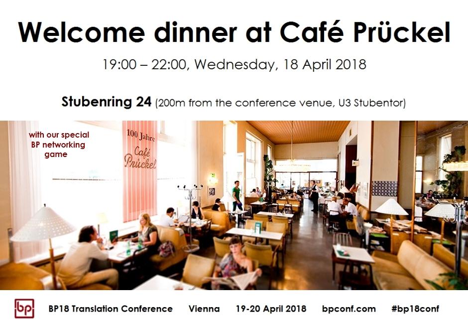 BP18 Translation Conference Welcome dinner at Café Prückel