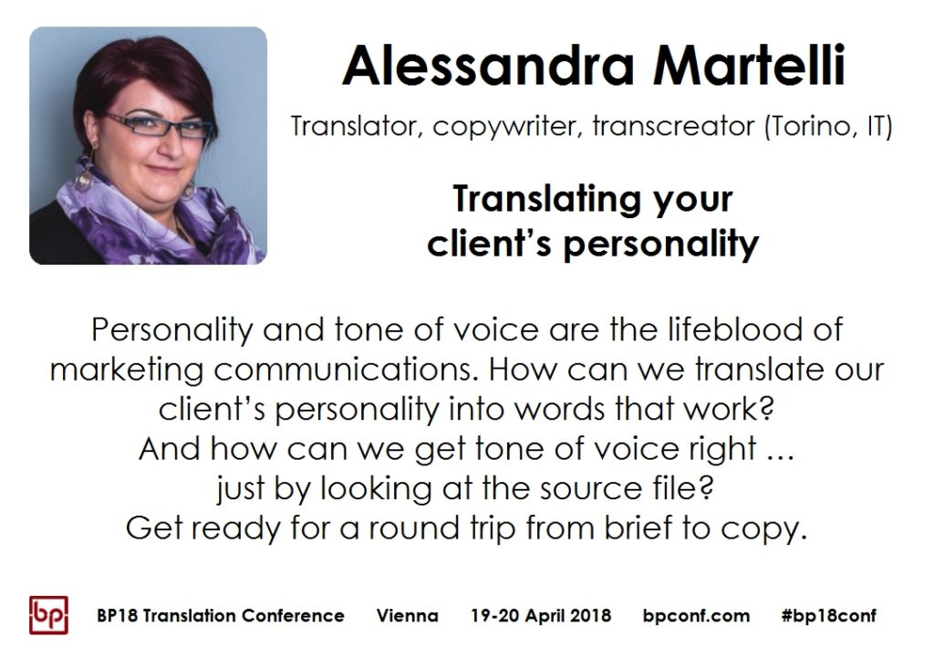 BP18 Translation Conference Alessandra Martelli Translating your client's personality