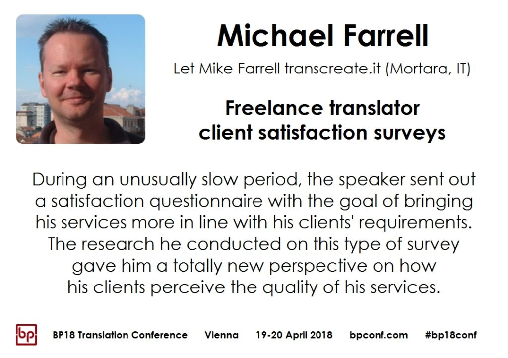 BP18 Translation Conference Michael Farrell client satisfaction surveys