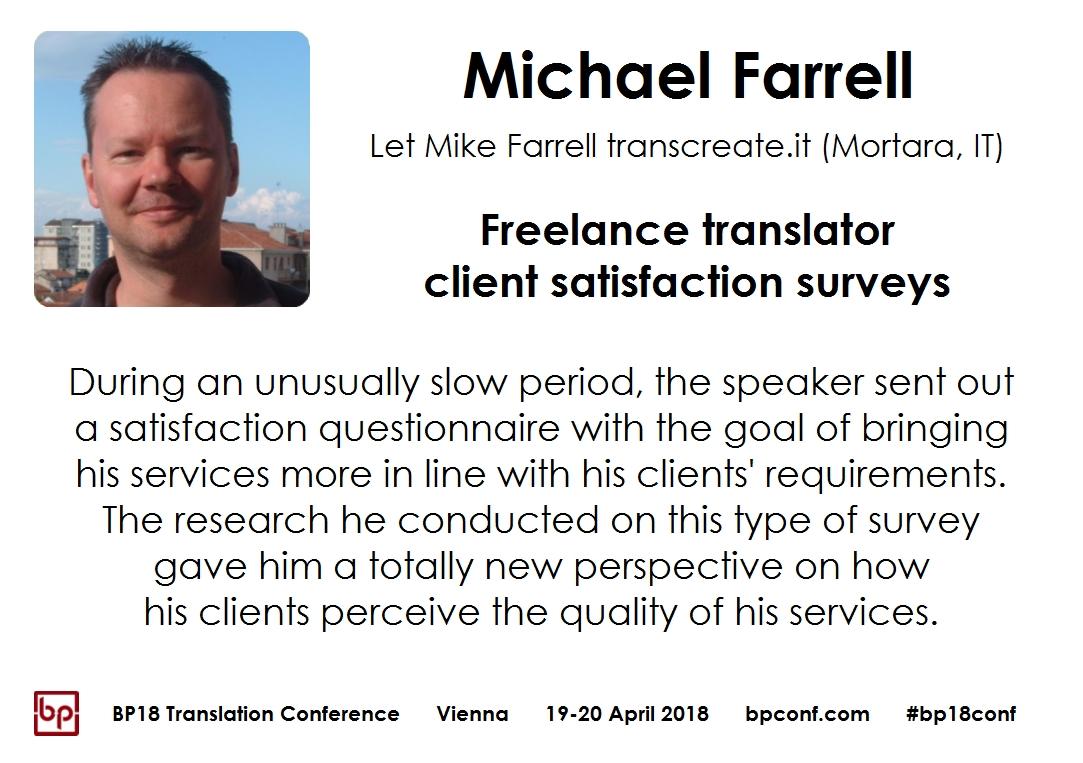 BP18 Translation Conference Michael Farrell client satisfaction surveys