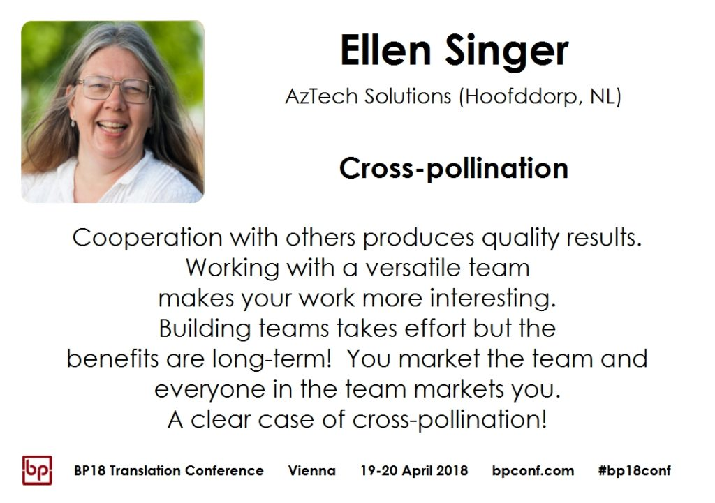 BP18 Translation Conference Ellen Singer Cross-pollination