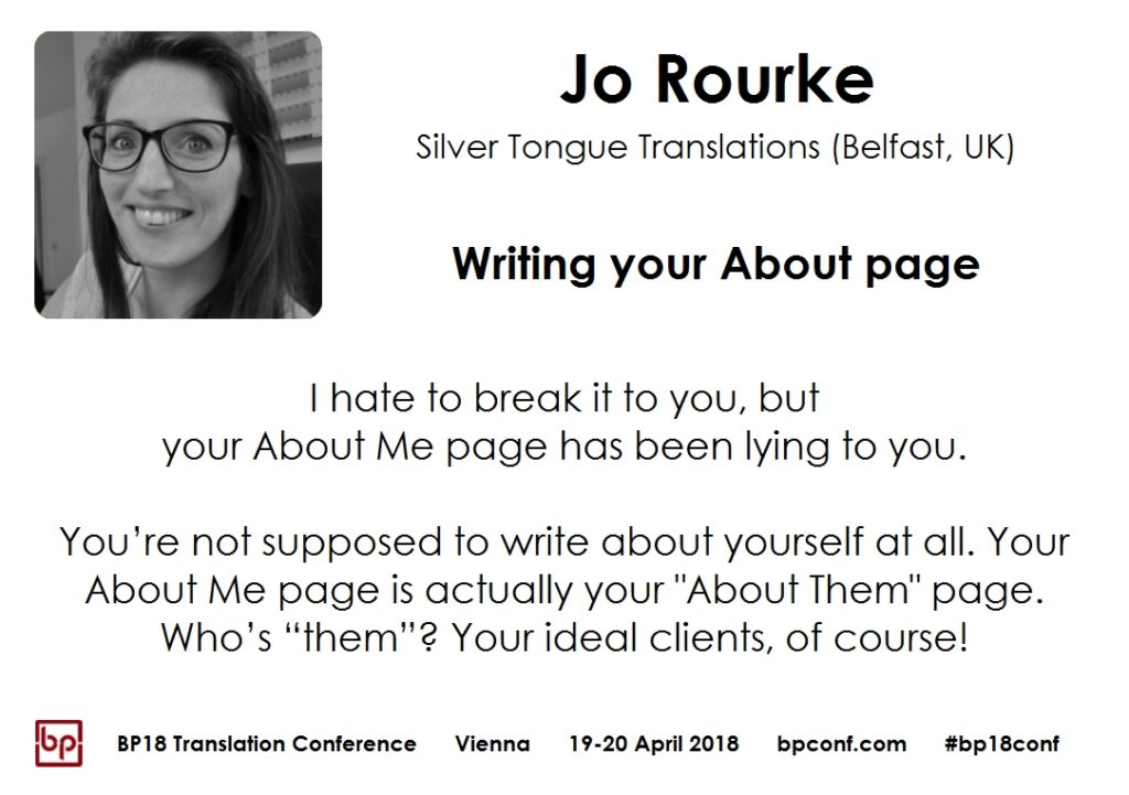 BP18 Translation Conference Jo Rourke Writing your About page