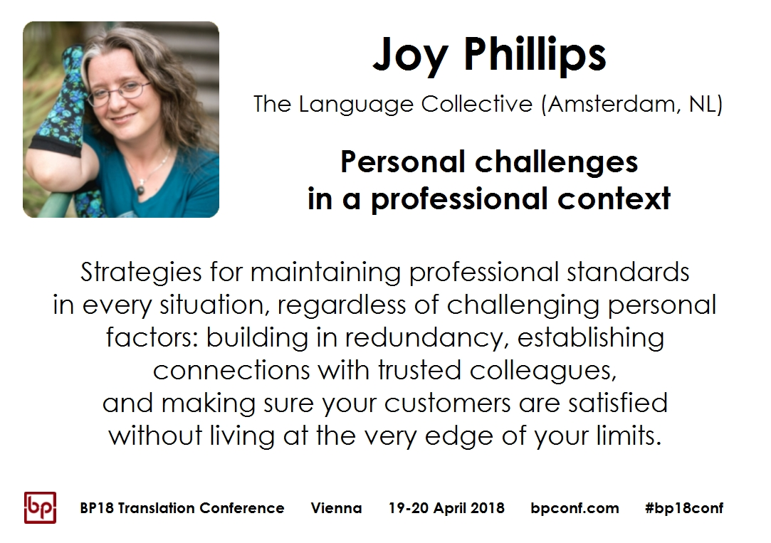 BP18 Translation Conference Joy Phillips Personal challenges in a professional context