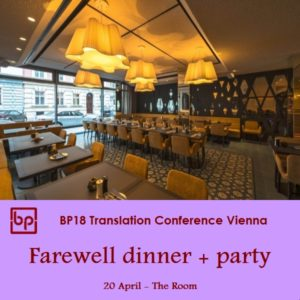 BP18 Translation Conference - Farewell dinner - 20 April