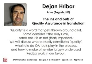 BP19 Translation Conference - Dejan Hribar - The ins and outs of Quality Assurance in translation