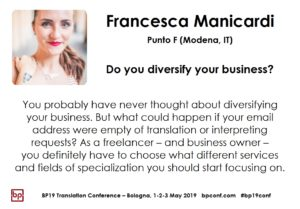BP19 Translation Conference - Francesca Manicardi - Do you diversify your business?