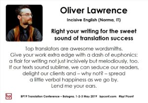 BP19 Translation Conference - Oliver Lawrence - Right your writing for the sweet sound of translation success