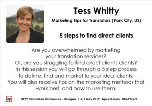 BP19 Translation Conference - Tess Whitty - Five steps to find direct clients