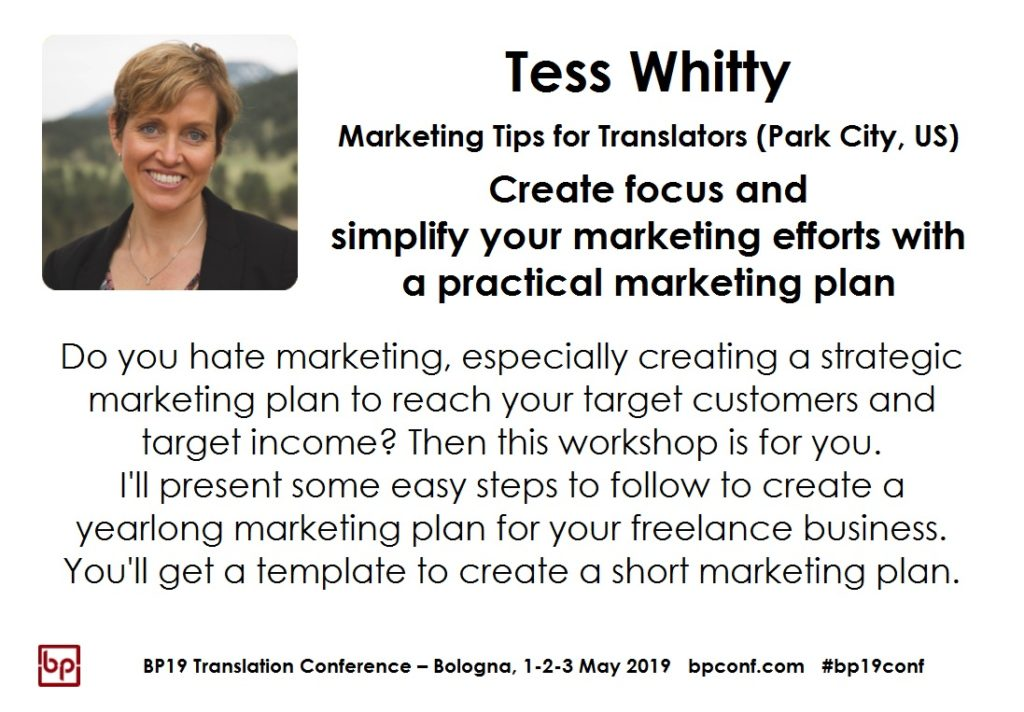 BP19 Translation Conference - Tess Whitty - Simplify your marketing efforts with a practical marketing plan - Workshop