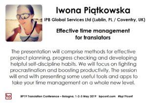 BP19 Translation Conference - Iwona Piątkowska - Effective time management for translators