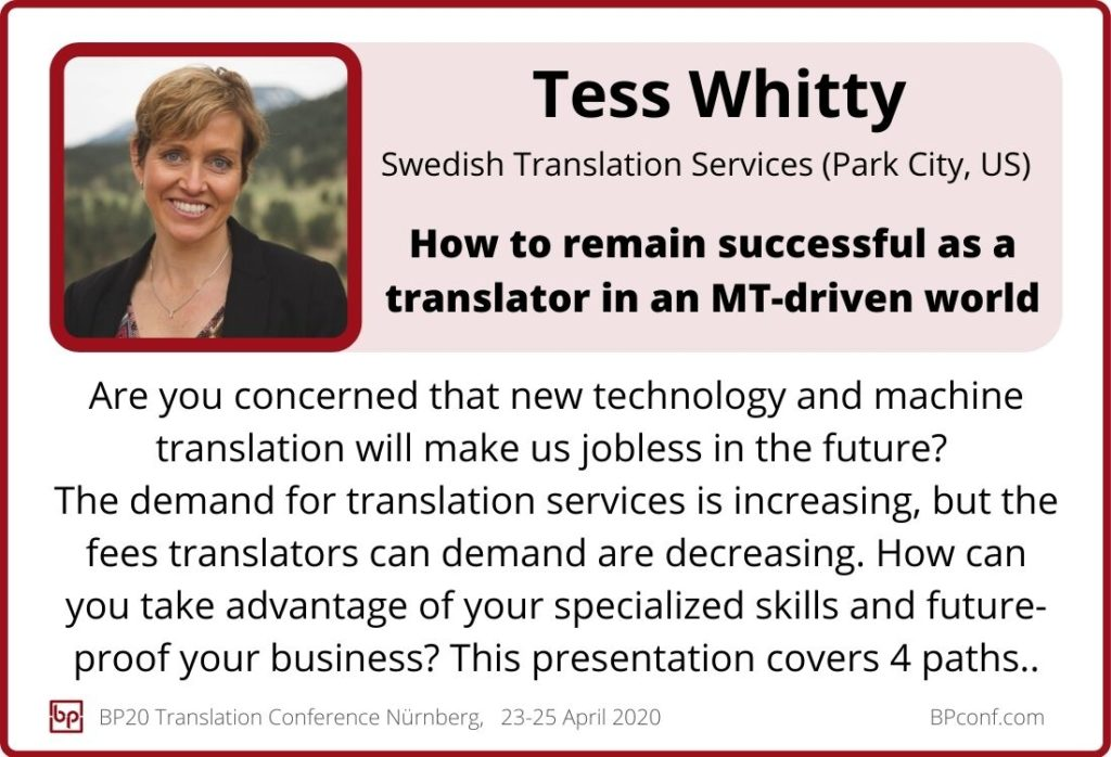 Tess Whitty_BP20_Translation Conference_How to thrive as a translator in an MT driven world_Session card
