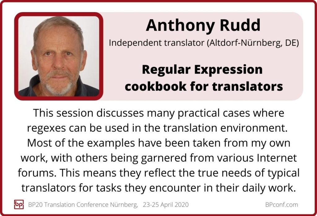 Anthony Rudd_BP20_Regular expression cookbook for translators