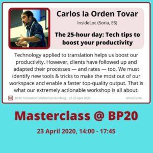 BP20 Masterclass Carlos la Orden Tovar