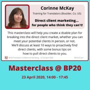 BP20 Masterclass Corinne McKay