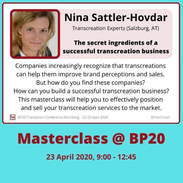 BP20 Masterclass Nina Sattler Hovdar