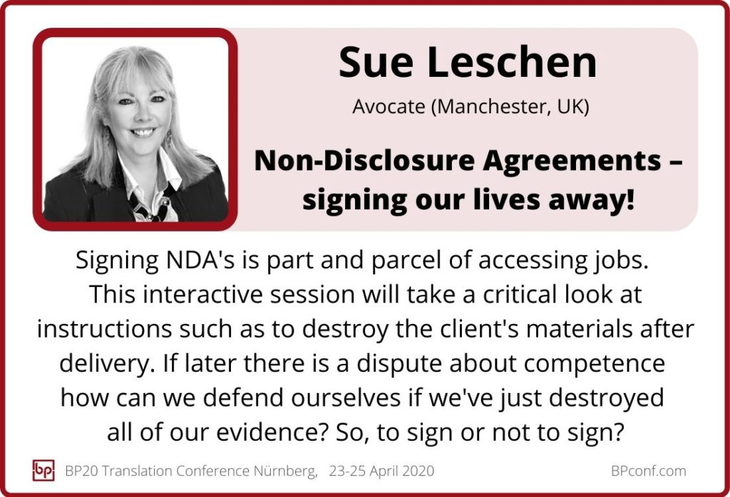 Sue Leschen_BP20_Non-Disclouse Agreements Signing our lives away