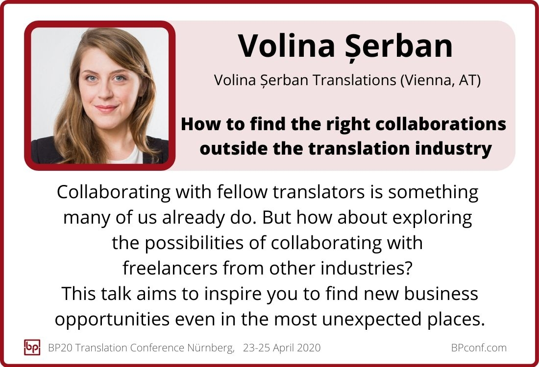 Volina Serban_BP20 Translation Conference_How to find collaborations outside the translation industry