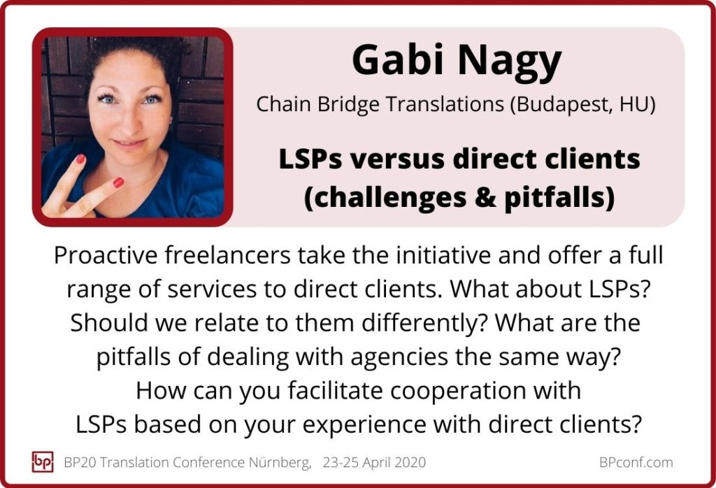 Gabi Nagy_BP20 Translation Conference_LSPs versus direct clients_challenges and pitfalls