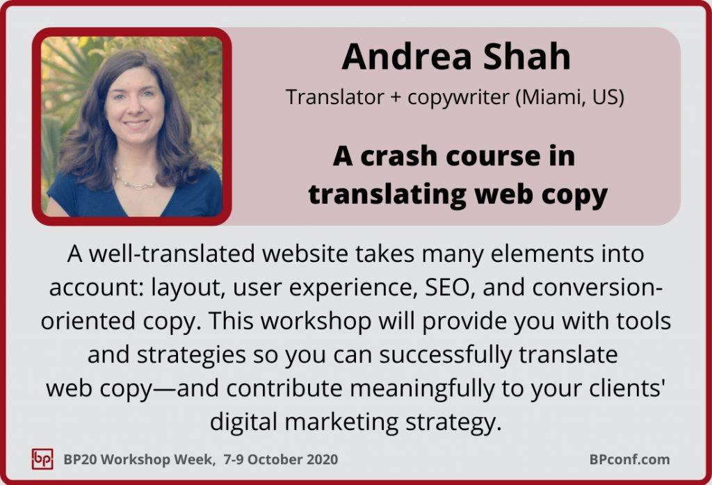 BP Workshop Week_Andrea Shah_Translating web copy