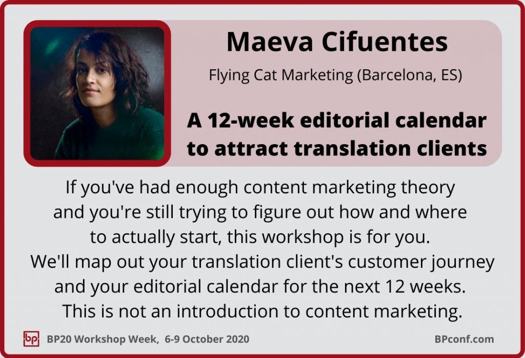 BP Workshop Week Maeva Cifuentes Content marketing editorial calendar