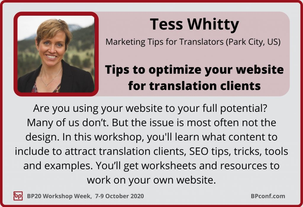 BP20_Workshop Week_Tess Whitty_Optimize your website to get more clients