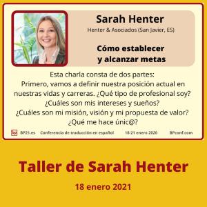 Conferencia de traducción en espanol BP21.es BP Translation Conference in Spanish Taller de Sarah Henter metas para traductores