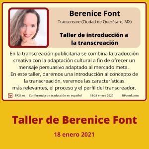 Conferencia de traducción en espanol BP21.es BP Translation Conference in Spanish Taller de Berenice Font transcreación
