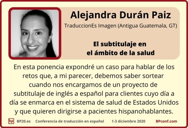BP20.es Conferencia de traducción  Alejandra Duránb Ruiz  De Filología Inglesa a la traducción técnica