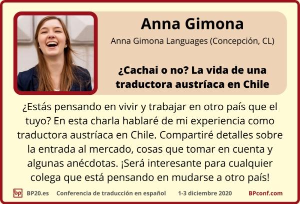 BP20.es Conferencia de traducción : Anna Gimona una traductora en Chile