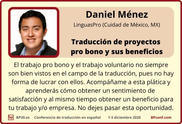 BP20.es Conferencia de traducción : Daniel Ménez :Traducciones pro bono