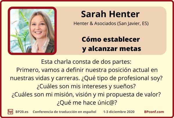 BP20.es Conferencia de traducción . Sarah Henter . Metas para traductroes